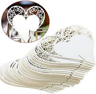 LZHOO 50 Piezas Tarjetas de Lugar Nombre Etiquetas Decorativas Forma de Corazón para Invitacion, Agradecimiento, Regalo, Detalle de Boda, Cumpleaño, Comunión, Bautizo o Fiesta
