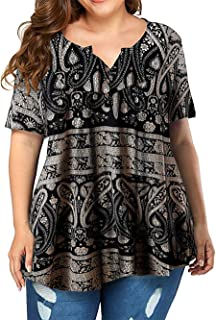 VISLILY Women's Plus Size Henley Shirt Long Sleeve Buttons Up Pleated Tunic Tops