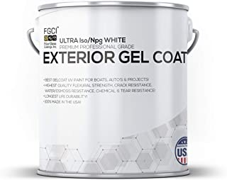 Fiberglass Coatings Ultra Iso/Npg White Boat Paint, Exterior Gel Coat KIT, 1 Gallon W/ 2 OZ MEKP, No Wax/Sanding, Professional Marine GELCOAT, Boat Exterior Hulls, Boat Interior Decking, DIY Projects