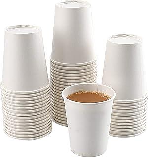 اكواب ورقية، حزمة من 150 كوب ورقي مقاس 8 اونصة، فناجين قهوة ورقية بيضاء، اكواب ورقية بيضاء للقهوة الساخنة، اكواب ورقية للم...