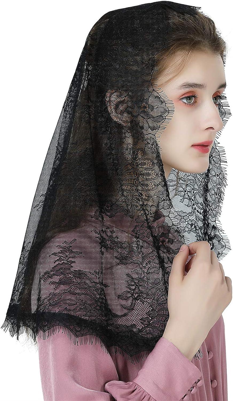 Catholic Mantilla Veil For Women Chapel Veil Church Veil Easter Latin Mass Head Covering Navy Blue Black