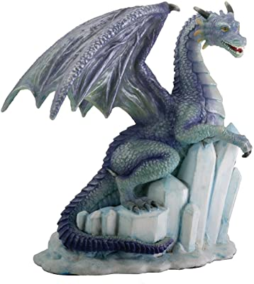 Winter Dragon on Ice Fantasy Figurine Decoration Decor Collectible