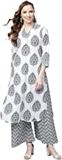 Tissu Women's Cotton Printed Kurta With Palazzo Set