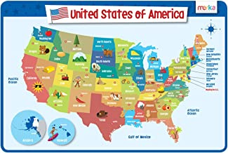 merka Educational Placemat for Kids - USA Map - Big and Colorful Mat - United States of America Map - Non Slip, Washable and Reusable - States and Capitals Laminated