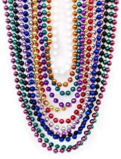 Bulk Beads; Mardi Gras Beads Necklaces With Super Sized Charms; 36 Bulk Pack Fun Party Beaded Necklaces Neliblu