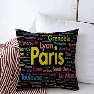 Staropho Pillow Covers Farmhouse Europe Tower France Cities Word Cloud Eiffel Montpellier Bordeaux Brest Cannes Capital City Design Decorative Throw Pillow Covers 20