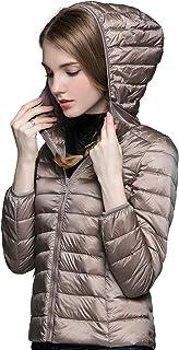 Sunseen Women's Lightweight Hooded Packable Slim Warm Outdoor Sports Travel Insulated Parka Outerwear Puffer Jacket Down Coat