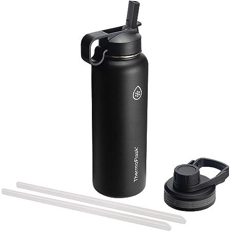 Thermoflask 50060 - Botella aislada con tapa para chug y pajitas, Negro (Black), 40 Oz (1182.94 ml)