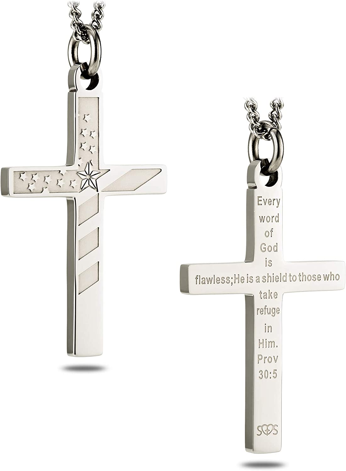 Women's Stainless Steel Flag Cross Regular dealer 30:5 Necklace-Proverbs A surprise price is realized