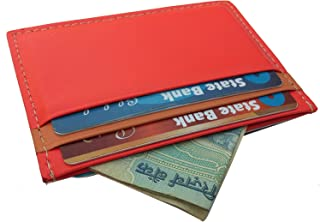 LORD'S Slim Pure Leather Wallet Credit Card Case Sleeve Card Holder with ID Window for Men's Women's - Orange