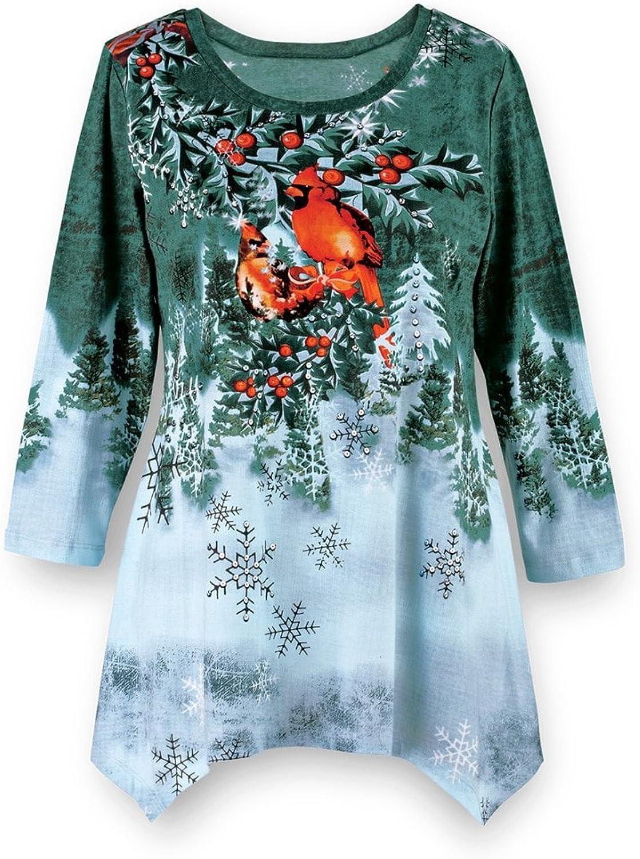 Women's Winter Cardinal Festive Waterfall Tunic, Green, Large