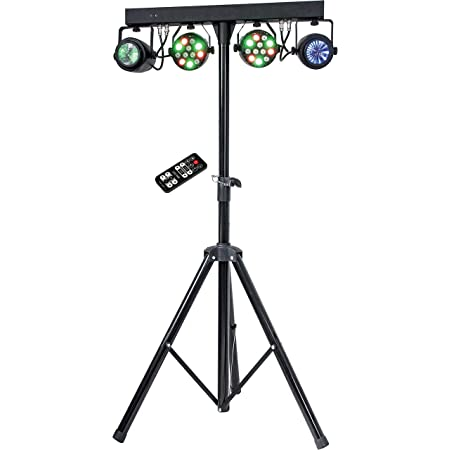 MUSYSIC MU-L31F Complete Professional 4-Par 4-in-1 Stage LED Lights DJ Band DMX System & Stand