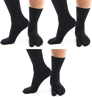 3 Pairs Big Toe Flip-Flop Socks V-Toe Casual Tabi Style Stylish Fun Premium Cotton Blend