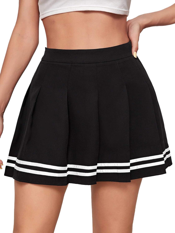 SheIn Women's High Waist Pleated Mini Skirt Striped Skater Short Skirts