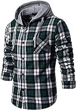 Men's Casual Coat Fit Slim Plaid Printed Sweatshirt Long Sleeve Shirt Blouse