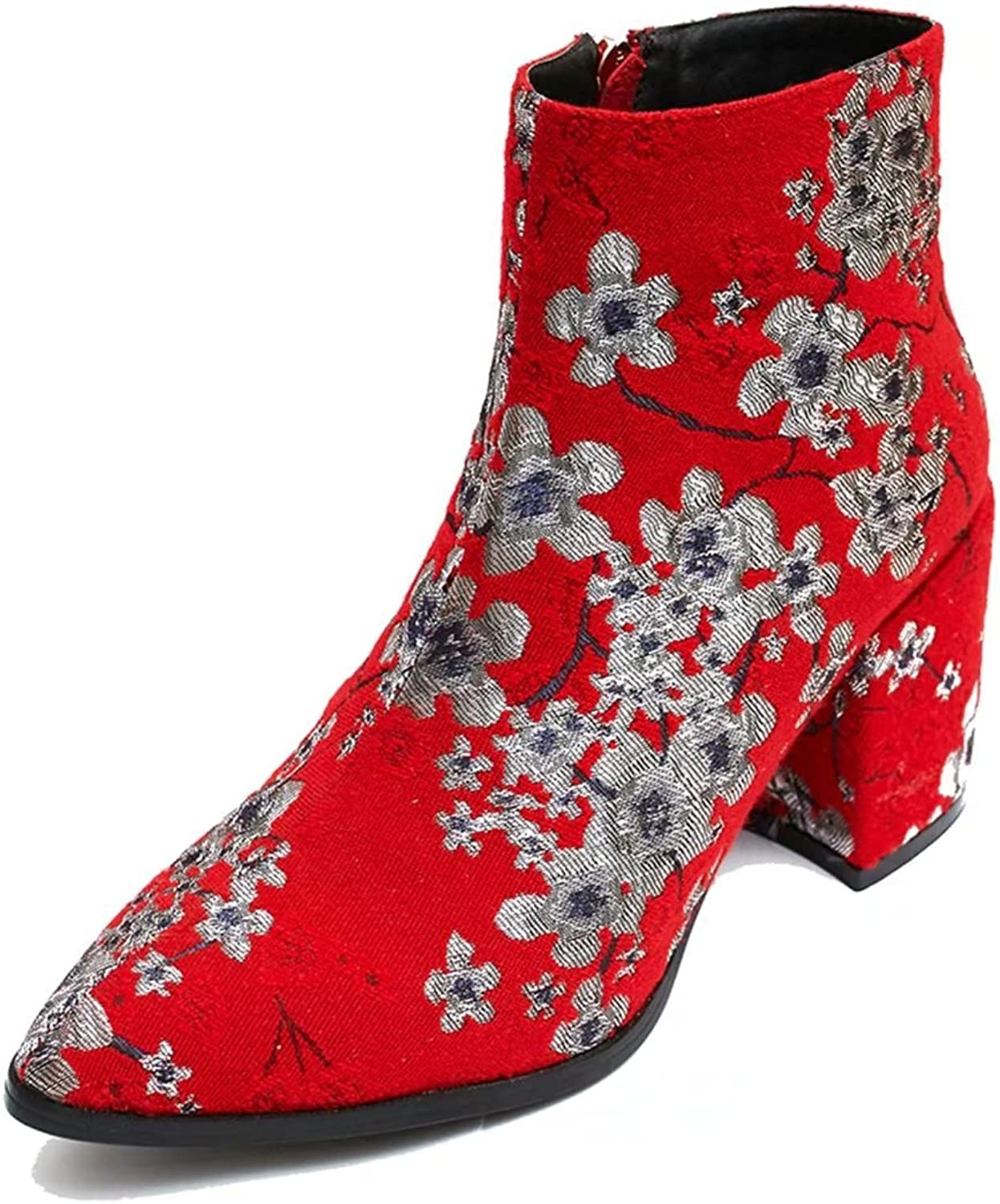 KingRover Women's Sexy Pointed Toe Floral Embroidery Chunky Heel Dressy Ankle Boots