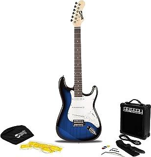 RockJam RJEG02 6 String Electric Guitar Beginner Kit with 10-Watt Amp, Gig Bag & Accessories-Blueburst, Right, Blue Burst ...