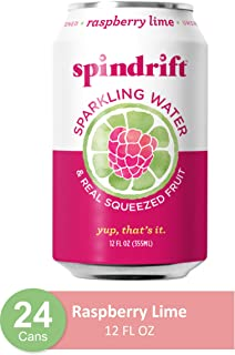 Spindrift Sparkling Water, Raspberry Lime Flavored, Made with Real Squeezed Fruit, Only 9 Calories per Seltzer Water Can, 12 Fl Oz Cans, Pack of 24