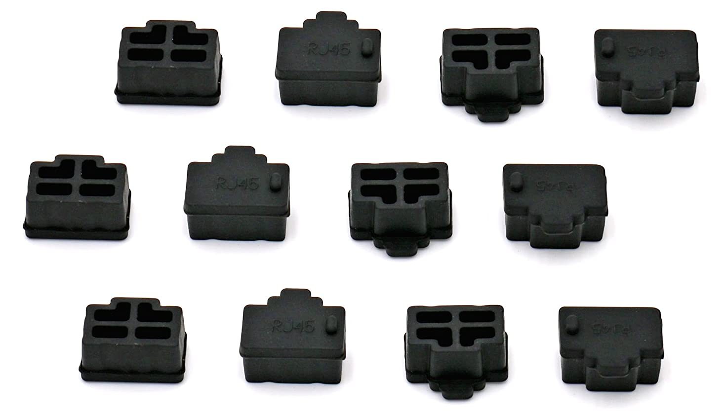 iExcell 12 Pcs Black Ethernet Hub Port RJ45 Anti Dust Cover Cap Protector Plug