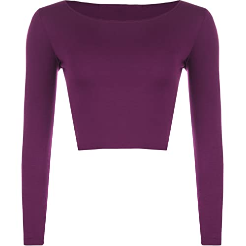 cabd7f8233db4c WearAll Womens Crop Long Sleeve T Shirt Ladies Short Plain Round Neck Top  8-14