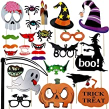 Halloween Photo Booth Props 26pcs for Trick or Treat Party