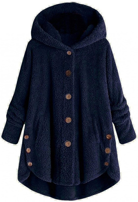 Women's Wool Winter Coats Button Coat Solid Hooded Pullover Loose Sweatshirts Plus Size Hoodies Outerwear Coat Overcoat