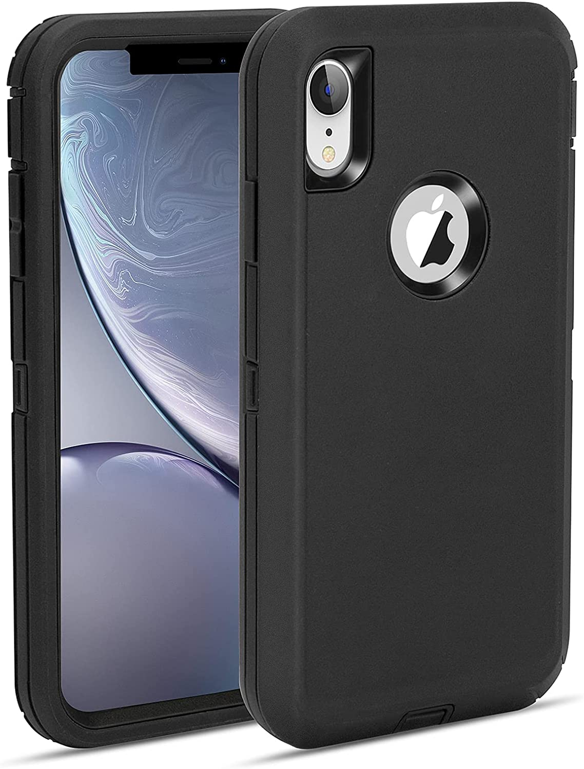 MAXCURY foriPhone XR Case, Heavy Duty Shock Absorption Full Body Protective Case Hard PC Bumper + Soft TPU Back Cover for iPhone XR 6.1 inch Not Built in Screen Protector (Black)