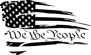 We the People Distressed American Flag Vinyl Decal Sticker