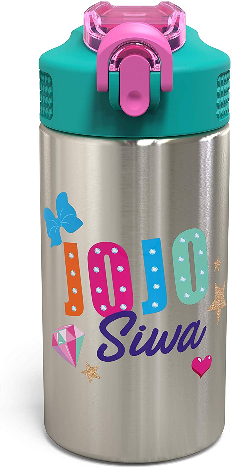 Zak Designs Jojo Siwa & Friends - Stainless Steel Water Bottle with One Hand Operation Action Lid and Built-in Carrying Loop, Kids Water Bottle with Straw is Perfect for Kids (15.5 oz, 18/8, BPA-Free)