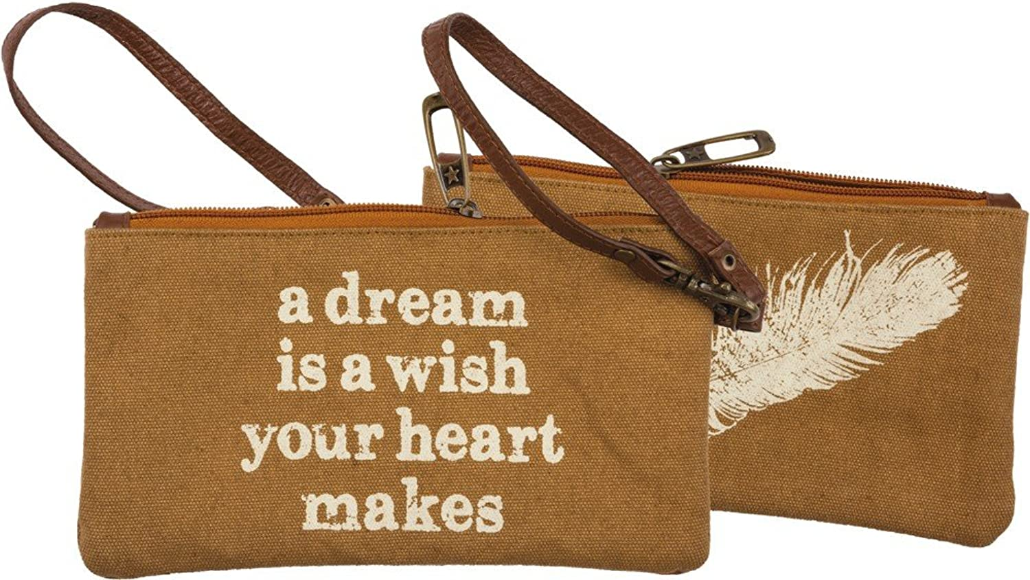 Canvas Wristlet with Leather Strap  A Dream is a wish your heart makes  Change Purse with Feather Graphic
