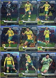 2019-20 Panini Prizm Premier League Soccer Norwich City Team Set of 12 Cards: Tim Krul(#277), Jamal Lewis(#278), Timm Klose(#279), Max Aarons(#280), Ben Godfrey(#281), Mario Vrancic(#282), Emiliano Buendia(#283), Marco Stiepermann(#284), Onel Hernandez(#285), Alexander Tettey(#286), Christoph Zimmermann(#287), Teemu Pukki(#288)