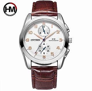 HANNAH MARTIN 日本の時計のムーブメントメンズファッションスポーツ防水クォーツスラブ革ベルト ストラップ腕時計腕時計-モデル HMBN03 (ブラウン)