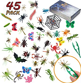 FansArriche 45 Pcs Fake Bugs Toy Mini Realistic Insects Toys for Kids, with Plastic tweezers,Educational Toy for 2, 3, 4, 5, 6 Years Old Kids, Toddlers, Boys, Girls