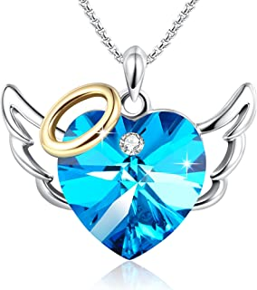 Angel Wings Necklace Love Heart Pendant Necklaces Wedding Anniversary Jewelry for Women Made with Swarovski Crystals