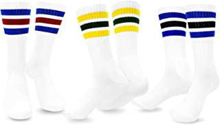 TeeHee Men's Sports Stripes Cotton Half Cushion Crew Socks 3-pair Pack
