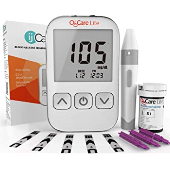 Oh'Care Lite Blood Sugar Test Kit – Blood Glucose Meter with Strips and Lancets, Lancing Device, Log, and Case - One Touch Eject Glucometer (50 Strips & 50 Lancets)