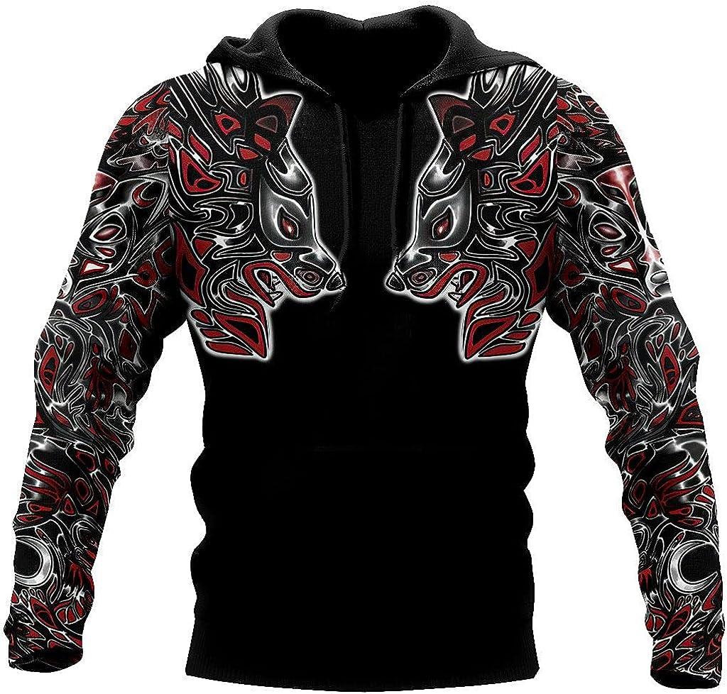 Viking Fenrir Wolf Tattoo Hoody, Animal Totem 3D Printed Sweatshirt, Unisex Jacket Pullover Sportswear