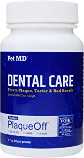 Pet MD Proden PlaqueOff Dog Teeth Cleaning Dental Care Powder - Oral Care Supplement for Dogs - Reduce Bad Breath, Tartar,...