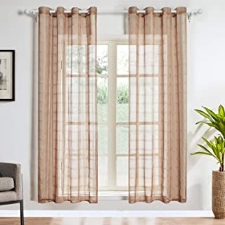 Top Finel Light Coffee Grid Sheer Curtains 84 Inches Long for Living Room Bedroom Grommet Top Window Treatments, 54x84 Inch, 2 Panels Set