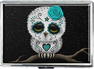 Cigarette Case Storage Case Box Stylish Credit Business Card Holder Case Box Unique Stainless Steel Silver (Sugar Skull Owl)