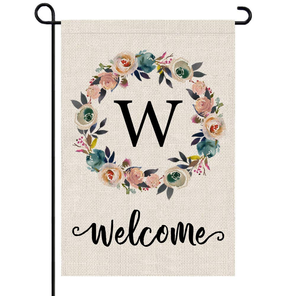 PARTY BUZZ Monogram W Garden Flag, Initial Letter Yard Patio Lawn Flag (12 x 18, Double Sided)