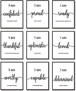 9 Pieces Inspirational Motivational Wall Art Office Bedroom Wall Art, Daily Positive Affirmations for Men Women Kids Inspi...