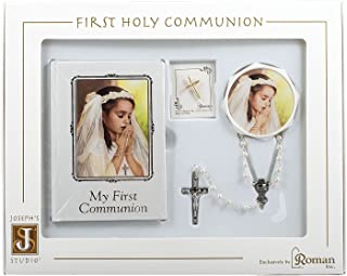First Holy Communion Book, Lapel Pin, Rosary and Keepsake Box Set for a Girl In Christ