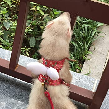 Ferret Harness and Leash Adjustable, Sakura Cotton Cloth Ferret Walking Vest, Soft and Breathable Ferret Lead Leash with Angel Wings and Safe Bell