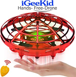 iGeeKid Hand Operated Mini Drones Kids Flying Ball Toy for Boys Girls Age 4-14 Year Infrared Induction Helicopter UFO Dron...