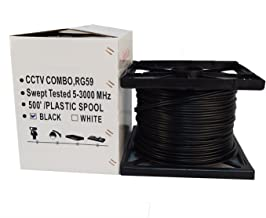 Five Star Cable RG59 Coax 500ft Bare Copper Combo Cable Solid 20 AWG RG59 Video + 18/2 18 AWG Power Siamese Coaxial CCTV Cable ETL Listed Black