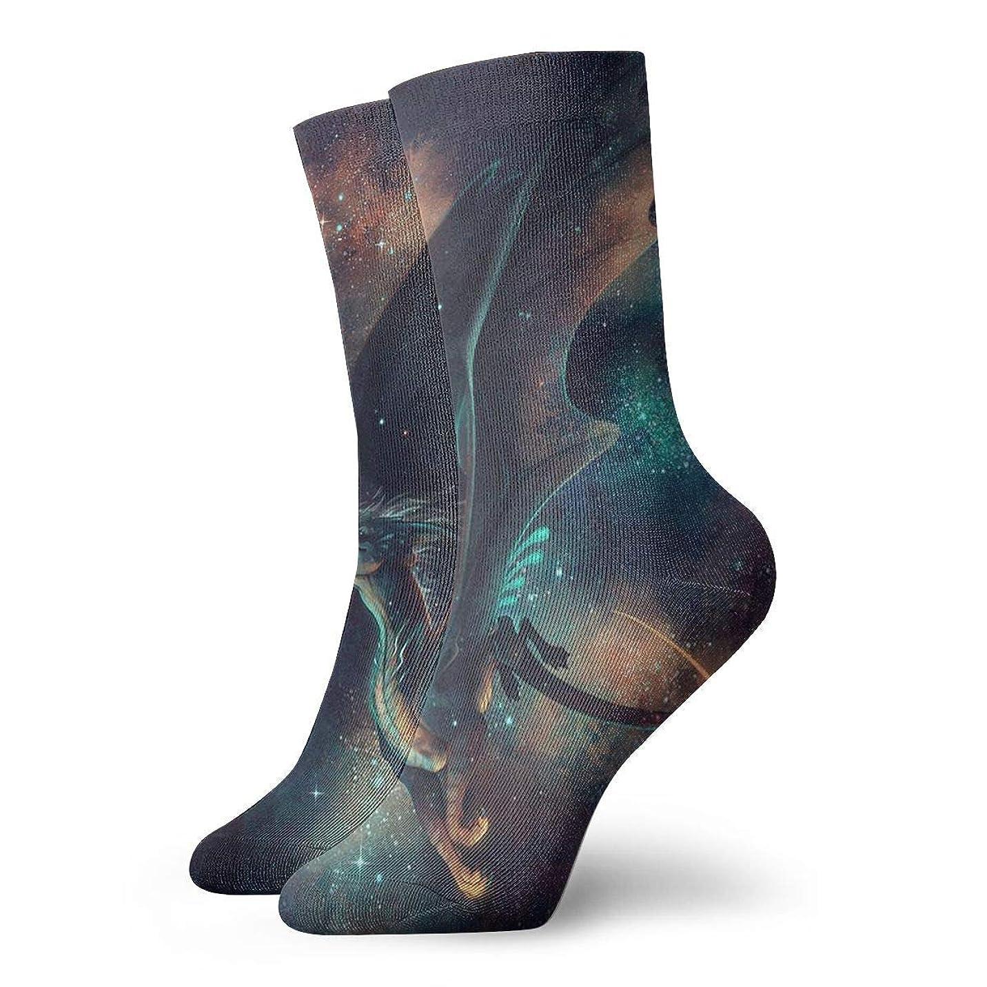 記者広く薄めるQrriyクリスマス靴下銀河ドラゴン非スリップ家庭床ソックス冬居心地の良い冬の男性用靴下ソックス