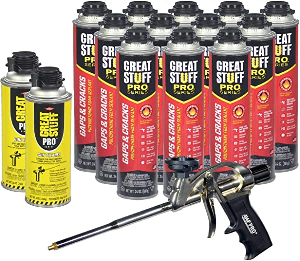 Dow Great Stuff Pro Gaps And Cracks 24 Ounce Foam 12 AWF Pro Foam Gun 1 And Dow Great Stuff Pro Foam Gun Cleaner 2