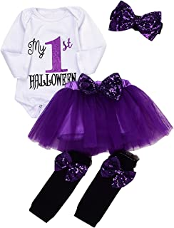 4Pcs Baby Girls My 1st Halloween Sequins Romper+Chiffon Tutu Skirt+Bowknot Leggings+Bunny Headband Outfit Set