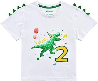 Dinosaurio 2do Cumpleaños Camiseta Ropa para Bebés Niño Cumpleaño Manga Corta